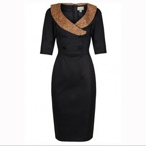 LINDY BOP Deanna Leopard & Black Wiggle Dress